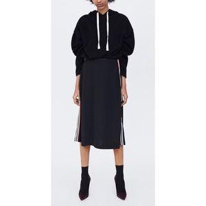 ZARA A-line midi side stripes skirt | Sz M